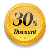 30 percent discount button — Stock Vector