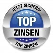 Top Zinsen Button blau - Stock Vector