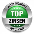 Top Zinsen Button grün - Stock Vector