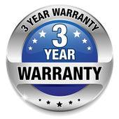 3 year warranty button — Stock Vector