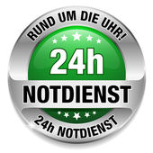 24h Notdienst Button grün — Stock Vector