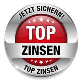 Top Zinsen Button rot — Stock Vector
