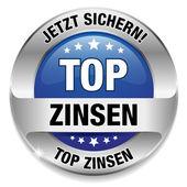 Top Zinsen Button blau — Stock Vector