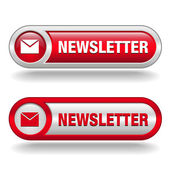 Free newsletter button red and white — Stock Vector
