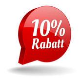 10 Prozent Rabatt Spechblase in rot — Stock Vector