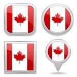 Канадский флаг кнопки — Cтоковый вектор