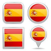 Spain flag buttons — Stock Vector