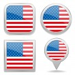 USA, North American flag buttons great collection — Векторная иллюстрация
