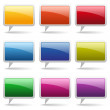 9 Colorful square round speech buttons — Stock Vector