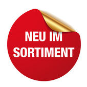 Red neu im sortiment sticker — Stock Vector