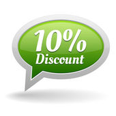 Green 10 percent discount speech bubble — ストックベクタ