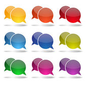 Colorful glossy round speech bubbles — Stok Vektör