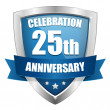 Blue 25 years anniversary button — Stockvectorbeeld