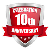 Red 10 year anniversary button — Stock Vector