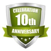 Green 10 year anniversary button — Stock Vector