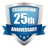 Blauwe 25 jaar verjaardag knop — Stockvector
