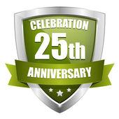Botón verde 25 años aniversario — Vector de stock
