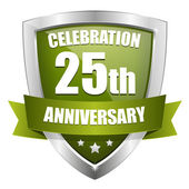 Green 25 years anniversary button — Stockvector