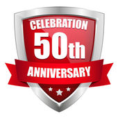 Red 50 years anniversary button — Stock Vector