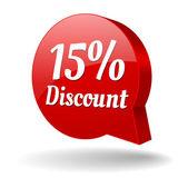 Red 15 percent discount speech bubble — Stock Vector