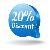 Blue 15 percent discount speech bubble — Stock Vector