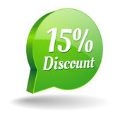 Green 15 percent discount speech bubble — ストックベクタ