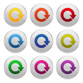 Grey buttons with colorful arrows- loading, download — Stock Vector