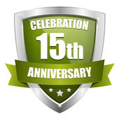 Green 15 years anniversary button — Stock Vector