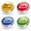 20 percent discount buttons set — Imagen vectorial