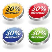 30 percent discount buttons set — Stock Vector