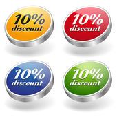 10 percent discount buttons set — ストックベクタ
