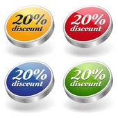 20 percent discount buttons set — Stock Vector
