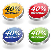 40 percent discount buttons set — Stock Vector