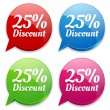 Stock Vector: 25 percent discount speech colorful bubbles