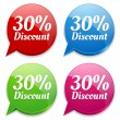 Stock Vector: 30 percent discount speech colorful bubbles
