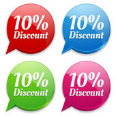 10 percent discount speech colorful bubbles — Vector de stock