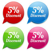 5 percent discount speech colorful bubbles — Vettoriale Stock