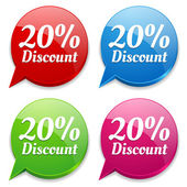 20 percent discount speech colorful bubbles — Vettoriale Stock