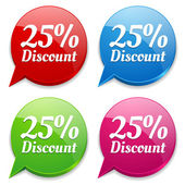 25 percent discount speech colorful bubbles — Stock Vector