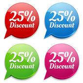 25 por ciento de descuento burbujas coloridas discurso — Vector de stock