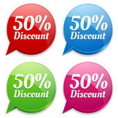 50 percent discount speech colorful bubbles — Vector de stock