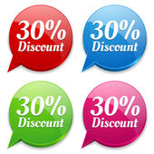 30 percent discount speech colorful bubbles — Vettoriale Stock