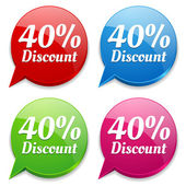 40 percent discount speech colorful bubbles — Vettoriale Stock