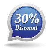 Blue 30 percent discount speech bubble — Stock Vector