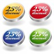 25 percent discount buttons set — Stock Vector
