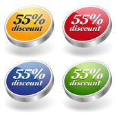 55 percent discount buttons set — Stock Vector