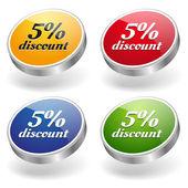 5 percent discount buttons set — Stock Vector