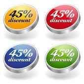 45 percent discount buttons set — Stock Vector
