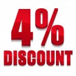 Red 4 percent discount sign — Vektorgrafik