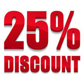 Red 25 percent discount sign — Stockvektor
